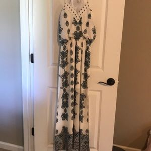 White with blue/black paisley maxi dress.